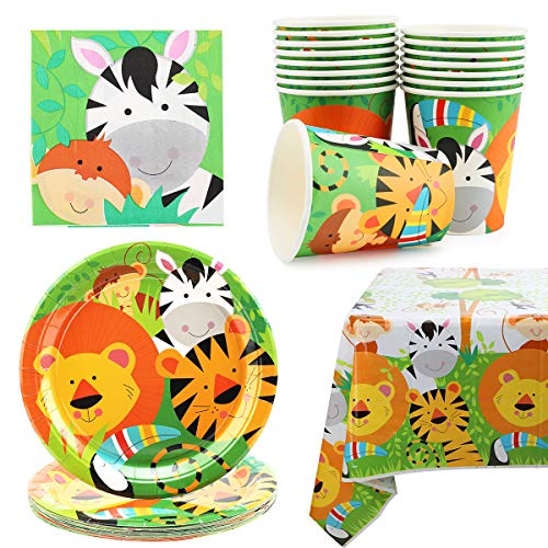 Herefun Party-Set Tiere - Jungle - Löwe, Zebra, Partygeschirr Set Kinder Bunt, Partyzubehör Set Kinder Geburtstag, Tischdeko Partygeschirr Kindergeburtstag Teller Becher Servietten