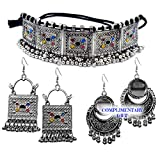LACUM Faishon Jewellery Oxidised German Silver Brass Traditional Chocker Necklace Pendant Set