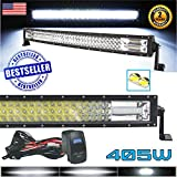 Arsenal No.1 32' Pro Tri-Row Curved Led Light Bar 405w 40500LM 7D Spot Flood Combo Beam for Off Road ATV AWD SUV 4WD 4x4 RZR Can Am