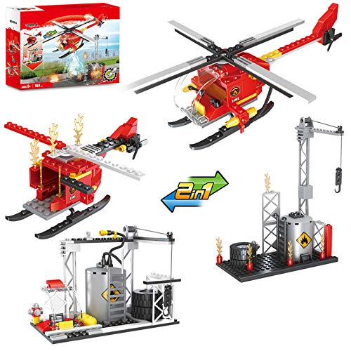Olimond Toys City Fire Helicopter Fire Station 2 in 1 Building Kit with Fireman, City Fire Plane Blocks Set with Firefighter (164PCS)