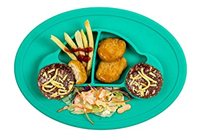Qshare Toddler Plates, Portable Baby Plates for Toddlers, BPA-Free FDA Approved Strong Suction Plates for Toddlers, Dishwasher and Microwave Safe Silicone Placemat 11x8x1'' (2CarTruquoise)