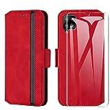 HHUIWIND Hülle für Samsung Galaxy A12 Leder + Panzerglas,Handyhülle Samsung Galaxy A12,Schutzhülle Handytasche Klapphülle Streifen Hülle mit Kartenfächer für Samsung Galaxy A12-Rot01