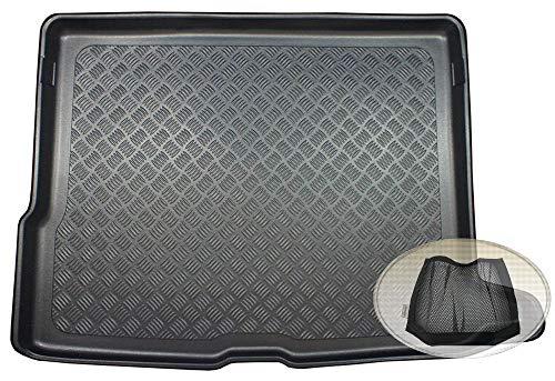 ZentimeX Z3327906 Geriffelte Kofferraumwanne fahrzeugspezifisch + Klett-Organizer (Laderaumwanne, Kofferraummatte)
