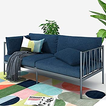 ZINUS Amanda Navy Metal Sofa / Steel Framework with Upholstered Cushions / Easy Assembly