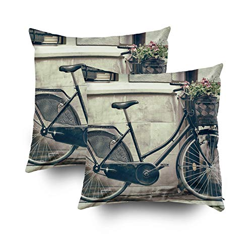 Asdecmoly Best, Decorative Pillowcase Pack of 2 Vintage Stylized Photo Old Bicycle Carry Cover for Kids Throw Cushion Square 18X18 Inchs Home Sofa Bed Travel Gift