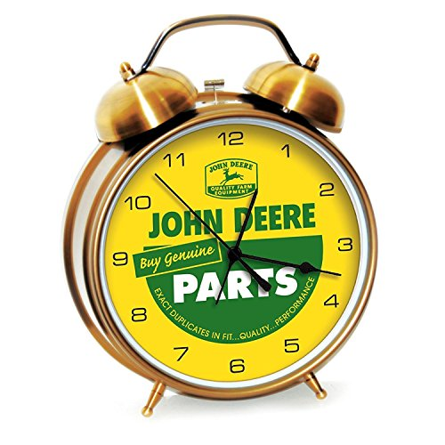 John Deere Large Twin Bell Alarm Clock Quartz Vintage Ad Clock in Shiny Gold Finish 8 inch Dia