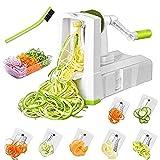 7-Blade Spiralizer Vegetable Slicer, Vegetable Spiralizer Chopper Plus Free Brash&Container &Lid with 7/420-grade Blade, Powerful Anti-Slip Sucker Spiral Slicer for Zucchini Noodles&Veggie Pasta Maker