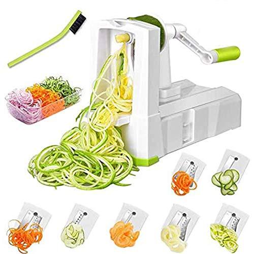 Smile mon 7-Blade Spiralizer Vegetable Slicer, Vegetable Spiralizer Chopper Plus Free Brash&Container &Lid with 7/420-grade Blade, Powerful Anti-Slip Sucker Spiral Slicer