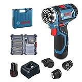 Bosch Professional GSR 12V-15 FC - Atornillador a batería (1 batería x 2,0 Ah, 12V, 15/30 Nm, FlexiClick, set de 40 accesorios, en maletín)