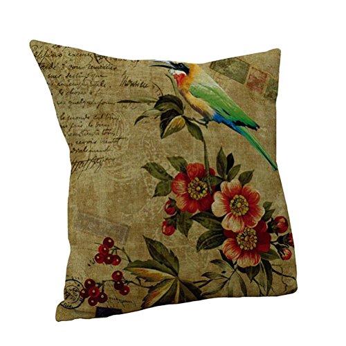 Nunubee chic Blume Kissenbezüge Sofa deko 45 x 45cm Leinen,Modell 1