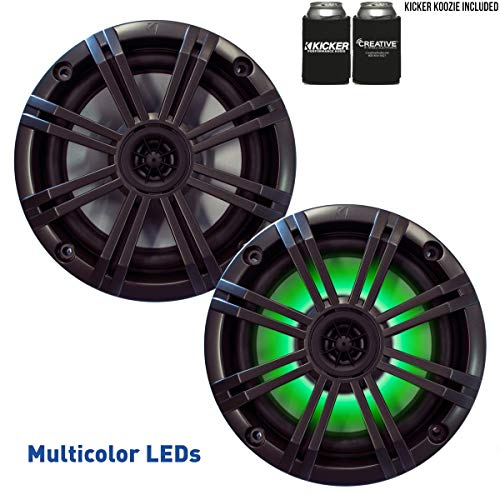 """KICKER 6.5"""" Charcoal LED Marine Speakers (Qty 2) 1 Pair of OEM Replacement Speakers"""