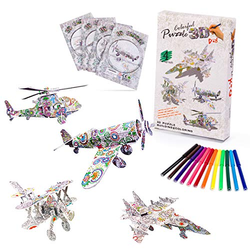 Vubkkty 3D Coloring Puzzle Set, 4 Pack Puzzles with 12 Pen Markers, 3D Puzzle Crafts for Kids Ages 8-12, Fun Creative DIY Toys Gift for Girls and Boys