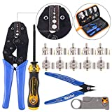 Swpeet 14Pcs Professional Crimping Tool Kit, Ratcheting Wire Terminal Crimper Tool Kit with 1Pcs Cable Stripper and 10pcs 50 Ohm BNC Crimp Male / Straight Connectors for Coax Connectors