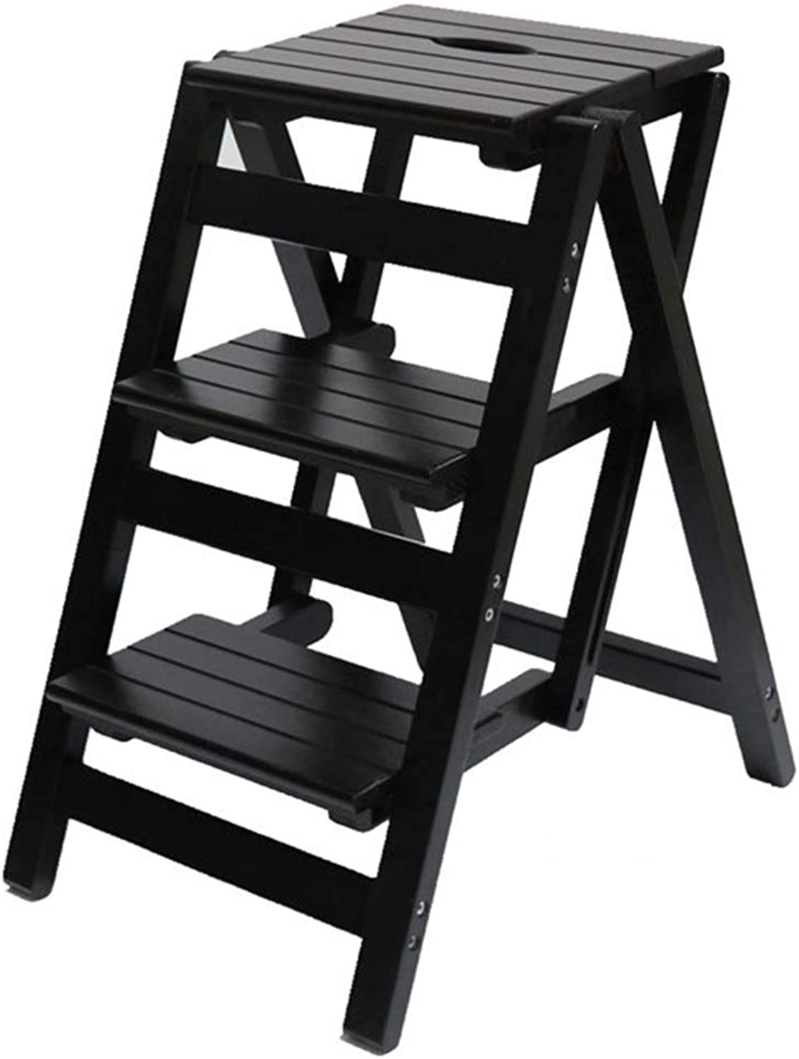 Step Stool Solid Wood,Household Simple Chairs Modern Stepladder Step Stool Folding Ladder Household Stool Ladder Kitchen,A