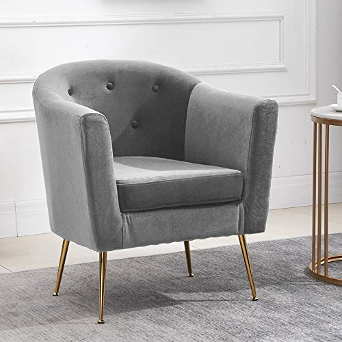 Ansley&HosHo Accent Living Room Tub Chairs Armchair Grey with Velvet Upholstered Seat and Metal Legs Modern Single Sofa Chairs Occasional Home Office Decor for Club Lounge Bedroom