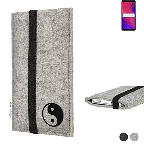 flat.design Handy Hülle Coimbra für Ulefone Power 3L mit Yin und Yang Schutz Hülle Etui Filz Made in Germany in hellgrau schwarz