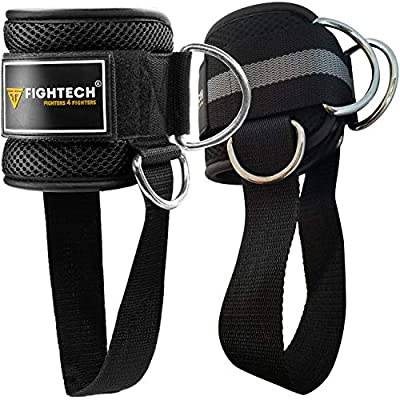 FIGHTECH Ankle Straps for Cable Machines   PRO Series Fitness Ankle Cuffs for Women & Men   Padded Ankle Straps Gym Cable Attachment for Glute and Leg Workouts (Black, Pair)