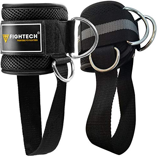 FIGHTECH Ankle Straps for Cable Machines | PRO Series Fitness Ankle Cuffs for Women & Men | Padded Ankle Straps Gym Cable Attachment for Glute and Leg Workouts (Pair, Black)