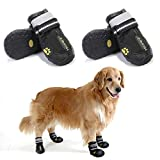 Teamoo 4PCS Dog Shoes/Dog Boots; Waterproof Rain Snow Dog Shoes/Boots with Rugged Anti-Slip Sole for Medium/Large Dog Indoor/Outdoor; Rugged Dog Paw Booty with Adjustable Reflective Straps