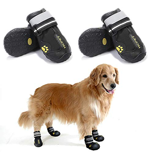 Teamoo 4PCS Dog Shoes for Hot Pavement Waterproof Dog Boots with Adjustable Reflective Straps Summer Durable Anti-Slip Dog Booties for Small Medium Large Dogs