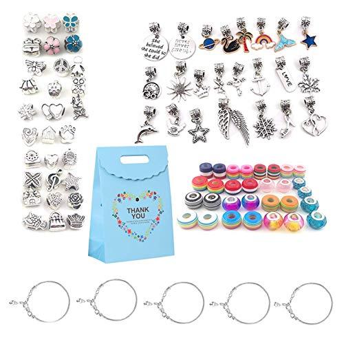 HughStore 88Pcs Bracelet Making Kit,DIY Charm Bracelet Making with Gift Box for Girls Ages 7-12,DIY Gift Charm Beads Jewelry Making Set for Girls Teens and Adults(Multi)