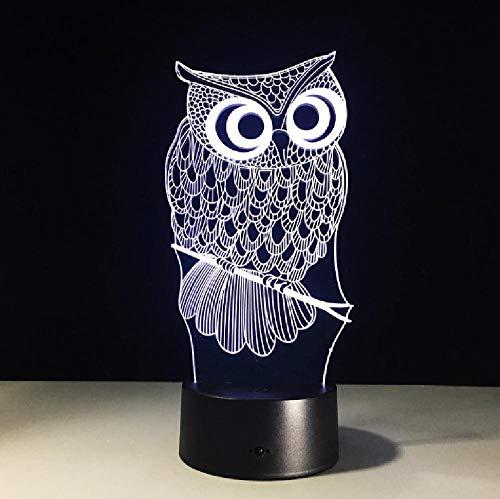 Kawaii Cartoon Owl Light 3D LED Animal Night Light RGB Cambiable Lámpara Niño Niños Bebé Suave Luces Dormitorio Decoración Iluminación