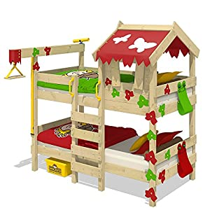 WICKEY Bunk Bed Crazy Ivy Play Bed for 2 Children Loft Bed with roof, Climbing Ladder and slatted Bed Base, red-applegreen