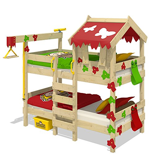 WICKEY Lit superposé CrAzY Ivy Lit de jeu pour 2 enfants Lit double avec toit, échelle d'escalade et sommier à lattes, rouge-vert pomme, 90x200 cm