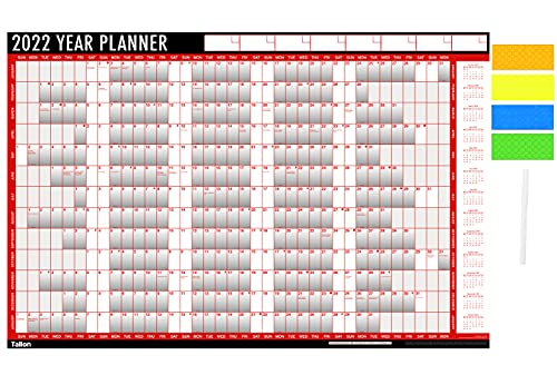 2022 Year Planner A1 Large Laminated Wall-Planner 85cm x 58cm with Dry Wipe Marker Pen & Sticker Dots Apothecary ltd