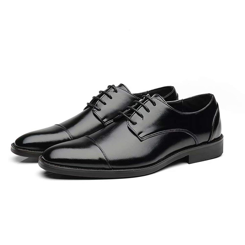 [hitstar] ビジネスシューズ メンズ 革靴 カジュアル 紳士靴 ブリティッシュ クラッシク 通勤 靴紐 革靴 滑り止め 通気(ブラック,24.0)