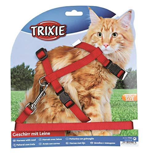 Trixie 41960 Katzengeschirr mit Leine, XL, Nylon, 34–57 cm/13 mm, 1,20 m, verschiedene Farben