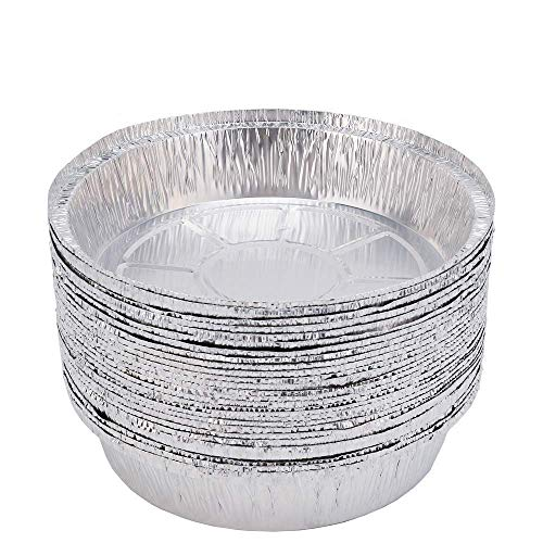 superkit Aluminum Pans Foil Pans Dia 9 (30 Pack) Durable Chafing Pans Disposable Steam Table Baking Pans Round Half Size Deep Perfect for Baking, Roasting, Broiling, and Cooking, Cakes, Loaf