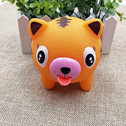 LuMon Sprechen Tier- Spielzeug, Lustiges Jabber Ball Spielzeug Zungen aus Stress Entlastung Weicher Ball Spielzeug für Kinder Erwachsene - Dunkel Gelb, Tiger