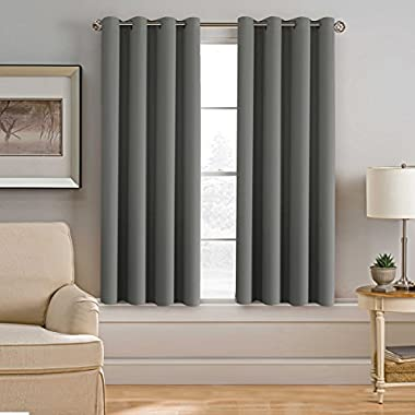 H.VERSAILTEX Ultra Soft Rich Blackout Grey Curtains Bedroom/Living Room,52  Wide x 63  Long Each Panel,Energy Saving Classic Window Panel(Set of 1)