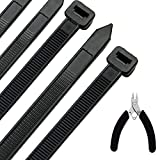 Honyear 24 Inch Cable Zip Ties Heavy Duty (with Wire Cable Cutters), Strong Large Black Zi...