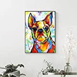 N / A Pintura sin Marco Pintura al óleo Animal Bulldog francés Imagen sobre Lienzo Sala de Estar decoración del...