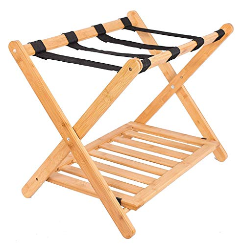 Review Luggage Rack, Hotel Room Without backrest Foldable Solid Wood Luggage Rack, Luggage Rack Shel...