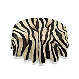 ALAZA Vintage Zebra Print Animal 60 x 60 Inch Table Cloth for Round Tables with Elastic Tablecloth Anti Wrinkle Table Cover for Dining Kitchen Parties