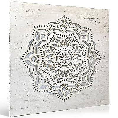 [MANDALA MADERA PARED] Cuadro de mandala calada blanco estilo vintage, de 57 x 57 cm. Diseño exclusivo para la decoracion pared. [CUADROS DECORACION SALON MODERNOS] Utiliza estos cuadros mandala madera como adornos para salon modernos, o como origina...