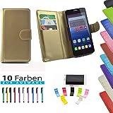5 in 1 set ikracase Slide Hülle für Archos 50 Titanium 4G Smartphone Tasche Case Cover Schutzhülle Smartphone Etui in Gold