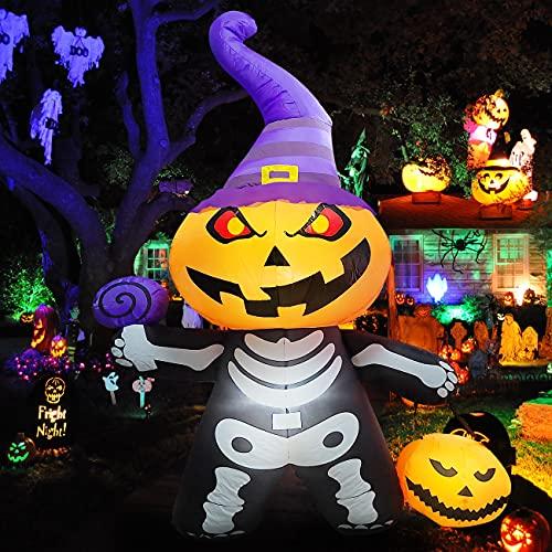 EPROSMIN Halloween Decorations Inflatables Pumpkin Head – 6 ft Blow Up Yard Decoration Halloween Outdoor Decor Builtin LED Lights Blower Garden Lawn Yard Decorations