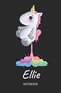 Ellie - Notebook: Blank Lined Personalized & Customized Name Rainbow Farting Unicorn School Notebook / Journal for Girls & Women. Funny Unicorn Desk ... School Supplies, Birthday & Christmas Gift.