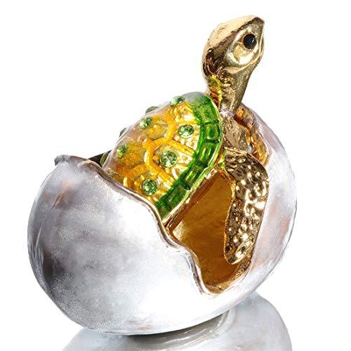 Waltz&F Bejeweled Turtle in Hatching Egg Trinket Jewelry Box Crystal Diamond Turtle Keepsake