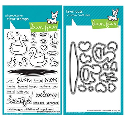"""Lawn Fawn Swan Soiree 4""""x6"""" Clear Stamp Set and Coordinating Custom Craft Die Set (LF2219, LF2220), Bundle of 2 Items"""
