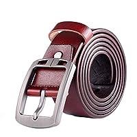 メンズベルト メンズバックルカジュアルパンツベルト ジーンズ カジュアルベルト (Size:125cm; Color:Red)