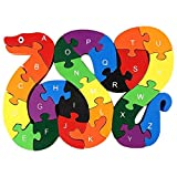 lovestown  Alphabet Jigsaw Puzzle Building Blocks Animal Wooden Puzzle , Wooden Snake Letters Numbers Block Toys for Children's Toys - Snake