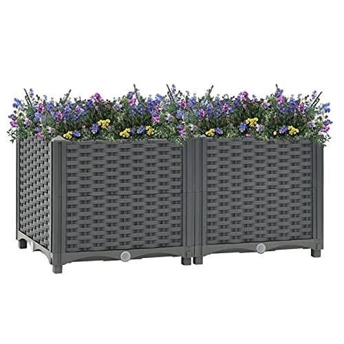 Festnight Maceta de plástico Cuadrado 80x40x38 cm Jardinera para Interior y Exterior Plantas Flores Jardín Decoración