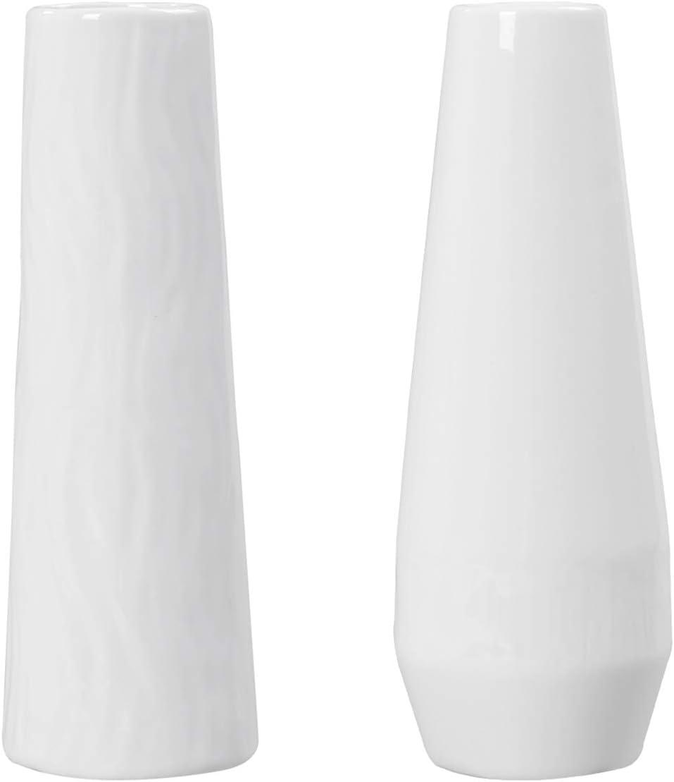 Ceramic Vase for Home Decor, 2 Pieces Cylinder White Nordic Vase for Flowers Tabletop Decorative Floral Vase for Wedding Living Room Centerpieces