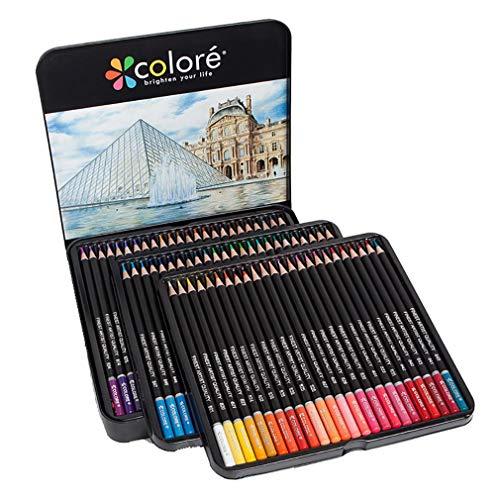 LCY Skizze Bleistift-Set Für Anfänger Jugend-Kunst-Set Art Bleistiftzeichnung Set Buntstifte Set 72 Farbe Eisen-Kasten Ölige Farbe Bleistiftzeichnung