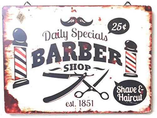 R.G.B. Targa in Legno Barber Shop 37x27 cm